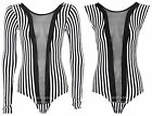 Ladies Long Sleeve Sleeveless Mesh Black White Stripe Leotard Women's Bodysuit