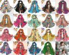 Hot Fashion Long Cotton Voile Floral Shawl Scarf Wrap Stole 19 Colors To Pick