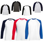 New Fruit of the Loom Mens Long Sleeve Cotton Baseball T Shirt 4 Colours S - XXL