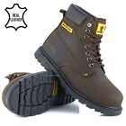 MENS NUBUCK LEATHER SAFETY WORK BOOTS STEEL TOE CAP HIKING ANKLE SHOES UK SZ