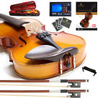 Mendini MV400 Ebony Fitted Solidwood Violin ~4/4 3/4 1/2 1/4 +Book+Tuner+2 Bow