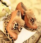 Womens Fashion Leopard Bow Tie High Heel Platform Wedge Ankle Boots Shoes #T2