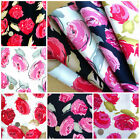 NEW ROSE - MODERN FLORAL PRINT per m 100% COTTON FABRIC Fashion Red Pink Navy