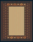 NAVY blue BEIGE modern STRIPED southwestern CARPET lodge BORDER rustic AREA rug