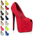 74V WOMENS PLATFORM PEEP TOE LADIES 7 INCH STILETTO HEEL COURT SHOES SIZE 3-8