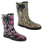 New Ladies Winter Snow Festival Wellies Rain Rubber Boots Sizes UK 3 4 5 6 7 8
