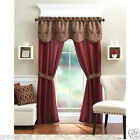 Unique 5 Piece Complete Window Curtain Set With Tiebacks - Assorted Colors