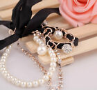 Fashion Pearl Full Rhinestones Crystal Ball Charms Link Bowknot Bracelet Gift