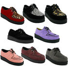 77S WOMENS PLATFORM LADIES LACE UP CREEPERS PUNK GOTH FLAT SHOES BOOTS SIZE 3-8