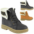 LADIES WOMENS ANKLE BOOTS GRIP SOLE CASUAL TRAINERS FUR LINED WINTER SZ 3-8