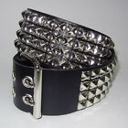 Funk Plus Gothic Industrial Goth Punk Pyramid Studded Black Genuine Leather Belt