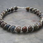 Pietersite Beaded Sterling Silver Wire Wrapped Bracelet