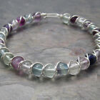 Rainbow Fluorite Beaded Sterling Silver Wire Wrapped Bracelet