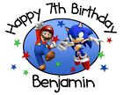 Внешний вид - Super Mario and Sonic Personalized Birthday T-shirt Custom Tee Bday Shirt Mario