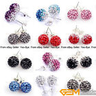 10mm multicolor pave sparkle swarovski crystal ball earrings fashion Jewelry