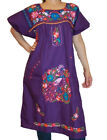 Assorted Knee-Length Peasant Tunic Embroidered Mexican Dress  XS  S-M  L-XL
