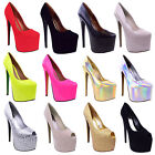 LADIES WOMENS BLACK PLATFORM 7 INCH HIGH HEEL STILETTO PUMPS COURT SHOES 3-8