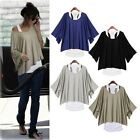 Fashion Women's Leisure Loose Bat Short Sleeve Vest T-Shirt 2Pcs Set 3 colors