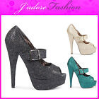 NEW LADIES HIGH HEEL STILETTO SPARKLY SHIMMER BUCKLE PLATFORM COURT SHOES UK 3-8