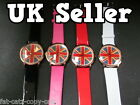 NEW UNISEX UNION JACK BIG FACE BLING DIAMONTE FAUX LEATHER WRIST WATCH UK SELLER