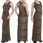 New Womens Ladies Leopard Animal Print Racer Back Long Maxi Dress Plus Size 8-14