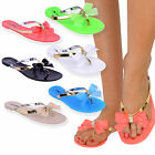 WOMENS LADIES TOE BOW DIAMANTE JELLY SUMMER FLAT FLIP FLOP THONG SANDALS SIZE günstig