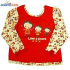 """BNWT BABY GIRLS RED EX ADAMS """"LOVE & KISSES"""" TOP / DRESS-Absolutely Gorgeous"""