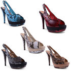 New Ladies Faux Snakeskin Slingback Peep Toe High Stiletto Heels UK 3 4 5 6 7 8