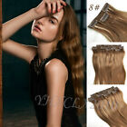 """Hot 14""""-22"""" 7pcs clip in on real human hair extensions black brown blonde red"""
