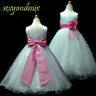 USMD59B H.Pink **Floor Length** Christmas Wedding Flower Girls Dress 1 to 13 Yrs