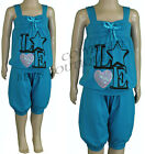 Girls Cropped Harem Pants Top 2 Piece Set Turq Outfit Kids Summer Clothes 2-12yr
