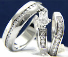 New 3 PCS 0.79 CT Solitaire CZ Engagement Wedding Stainless Steel Ring Band Set