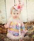 Baby Girls Yellow Pink Blue Lace Petti Rompers Romper Straps Bow NB-3T