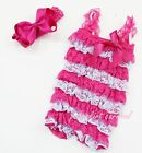 Newborn Baby Girls Hot Pink Blue Lace Petti Posh Rompers Straps Bow Headband 2pc