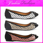 NEW LADIES DOLCIS POLKA DOT FLATS DOLLY  BOW BALLERINAS SHOES SIZES UK 3-8