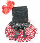 Baby Red Polka Dots Minnie Mouse Bloomers Black Tube Top Bow Headband 3pc NB-24M
