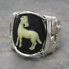 Aries Cameo Zodiac Astrology Sign Sterling Silver Wire Wrapped Ring ANY Size