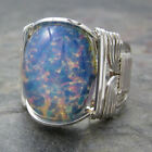 Blue Foil Opal Glass Cabochon Sterling Silver Wire Wrapped Ring ANY Size