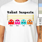 PACMAN USUAL SUSPECTS Mens T-Shirt. Multiple Colours & Sizes. Funny Retro Gamer