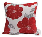 Chenille Poppy Cushions - Red & Grey Large & Small Floral Scatter Cushion Covers