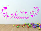 Personalised girls name sticker with hearts for bedroom wall