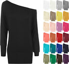 New Ladies Off Shoulder Batwing Long Sleeved Plain T-Shirt Womens Tunic Top 8-20