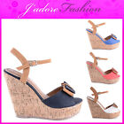 NEW LADIES HIGH HEEL CORK WEDGE PLATFORM SUMMER SANDALS SIZES UK 3-8