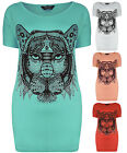 Womens Plus Size Stud Tiger T-Shirt Top Short Sleeve Ladies Brand New Size 16-32