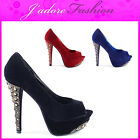 NEW LADIES STUDS SPIKES HIGH HEEL STILETTO EVENING  PLATFORM COURT SHOES UK 3-8
