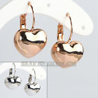 A1-E139 Fashion No Stone Heart Huggie Earrings Lever Back 18KGP