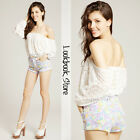 Women Lace Crochet Cut Out Eyelet Elastic Neckline Off Shoulder Top Blouse Shirt