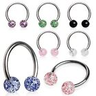New Surgical Steel Tragus Helix Cartilage Horseshoe Barbell with Glitter Balls