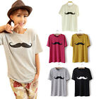 Fashion Women Loose Cotton Blended Mustache Short-Sleeved T-shirt Blouse Top