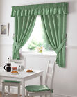 Gingham Check Kitchen Curtains Ready Made Pencil Pleat Green Net Curtain